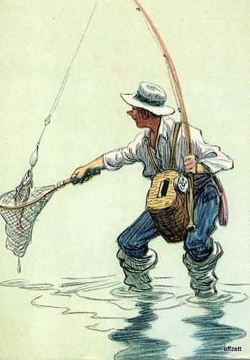 Пойманная рыба в сачке